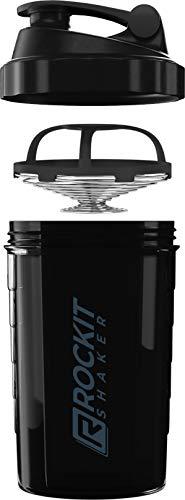 Rockitz Premium Protein Shaker 500ml - erstklassige Mischfunktion mit Infusion Sieb - für super cremige Fitness Eiweiß Shakes, Proteinshake Becher,Schwarz | Grau