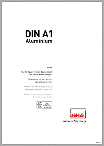 DEHA Aluminium Bilderrahmen Boston, 59,4x84,1 cm (A1), Silber Matt