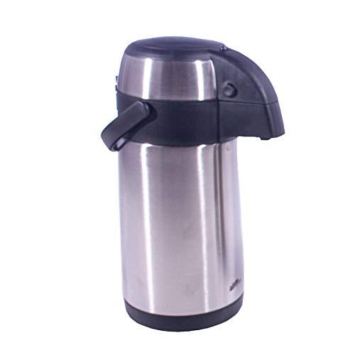 Smartfox Thermoskanne Pumpkanne Getränkespender Isolierkanne Thermosbehälter aus Edelstahl in schwarz/Silber mit 4 Liter Fassungsvermögen