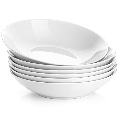 Y YHY SYNCHKG119651 - Juego de ensalada de porcelana (650 ml, poco profundo y blanco, 6 unidades), color blanco