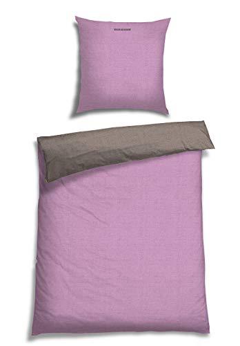 Schiesser Wendebettwäsche Doubleface Rose-Silber, 100% Baumwolle, Größe:155 cm x 220 cm + 80 x 80 cm