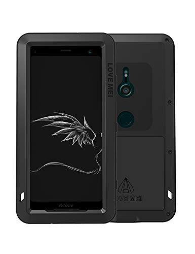 FONREST Ganzkörper Hülle für Sony Xperia XZ3, 6-Zoll Love MEI Schwerlast Hybride Aluminium Metall Rüstung Stoßfest Schneesicher Schmutzabweisend Staubdicht Fall Case (Schwarz)
