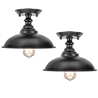 HMVPL Glass Ceiling Lamp, Industrial Close to Ceiling Light Semi Flush Mount Pendant Lighting Fixtures Edison Lights for Kitchen Island Dining Room Foyer Hallway Entryway Farmhouse