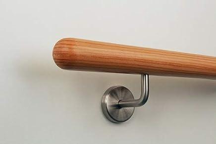 L/änge 30-500 cm aus einem St/ück//zum Beispiel L/änge 210 cm mit 3 gerade Halter Eiche Holz Treppe Handlauf Gel/änder Griff gerade Edelstahlhalter Enden =Halbrunde Edelstahlkappe