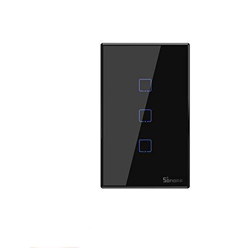 SONOFF T2 T3 US TX Smart Wifi Touch Interruttore a parete con bordo Smart Home 1 2/3 Gang 433 Controllo RF/Voice/APP funziona con Alexa (Nero TX-T3-3C)