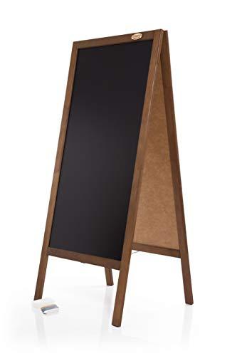 AZZAP Kundenstopper 130cm Holz Tafel Aufsteller Werbetafel Standtafel Schreibtafel Holztafel Werbung Dunkelbraun