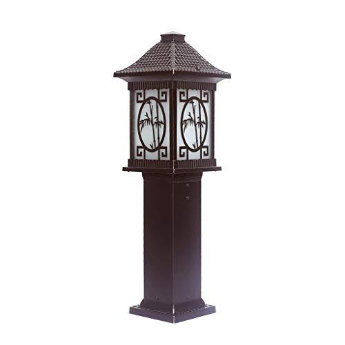 Columna del Estilo Chino del césped Pon Luces de la terraza Pilar lámpara de la Calle Patio rústico Paisaje Luces al Aire Libre a Prueba de Lluvia E27 con bambú patrón del Paisaje Fixture