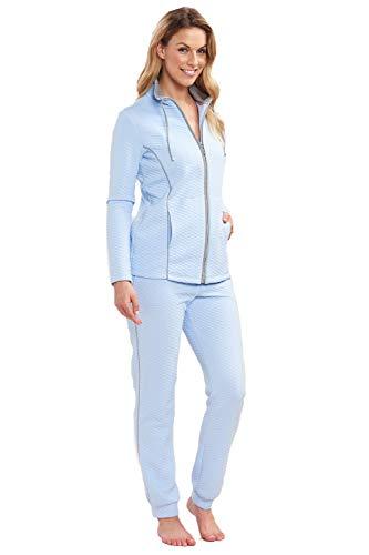 Rösch Hausanzug Damen Unifarbener Anzug für den Loungebereich aus trendigem Reliefgewebe, Gr. 36-50, 1193135 38 Blue