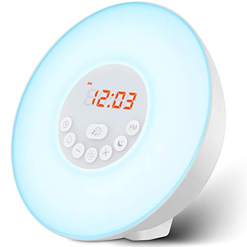 FITFORT Budzik budzenie światło - wschód słońca / zachód słońca symulacja stołowa lampka nocna ochrona oczu z radiem FM, dźwięki natury i funkcja sterowania dotykowego (biała), zielony