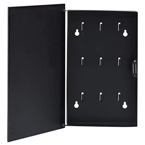 VIENDADPOW Caja de Llaves con Tablero magnético Negra 30x20x5,5 cm