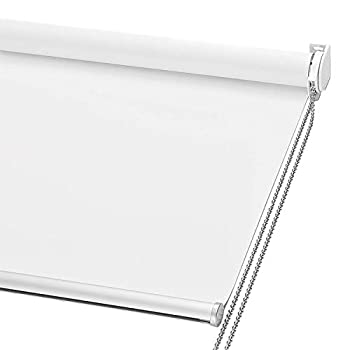 ChrisDowa 100% Blackout Roller Shade Window Blind with Thermal Insulated UV Protection Fabric Total Blackout Roller Blind for Office and Home Easy to Install White,28  W x 72  H