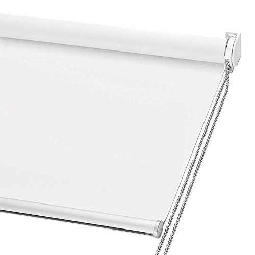 """ChrisDowa 100% Blackout Roller Shade, Window Blind with Thermal Insulated, UV Protection Fabric. Total Blackout Roller Blind for Office and Home. Easy to Install. White,24"""" W x 72"""" H"""