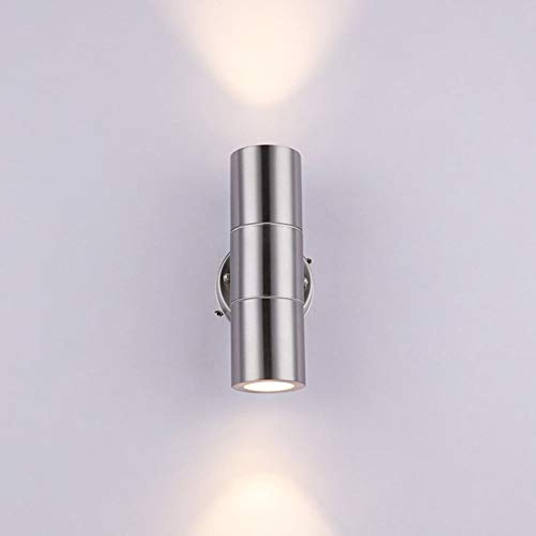 LXDER Auf und ab helles rundes Glas modernes minimalistisches geführtes Wandlampen-Edelstahl-Auenlicht Innen- und Auenlicht,3w