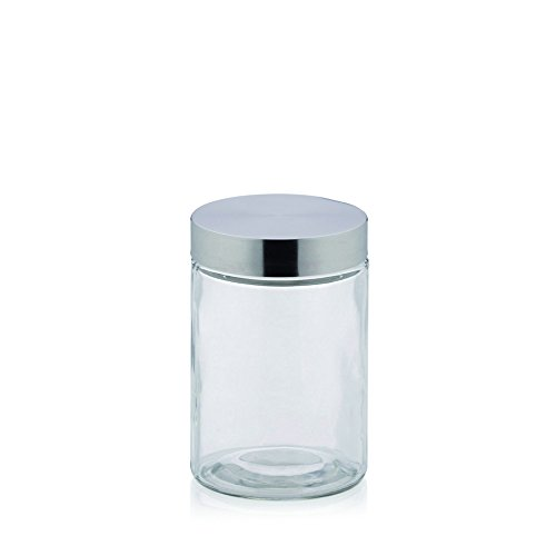 "kela Vorratsdosen-Set ""Bera"", Glas/Edelstahl, transparent/Silber, 1,2Liter"