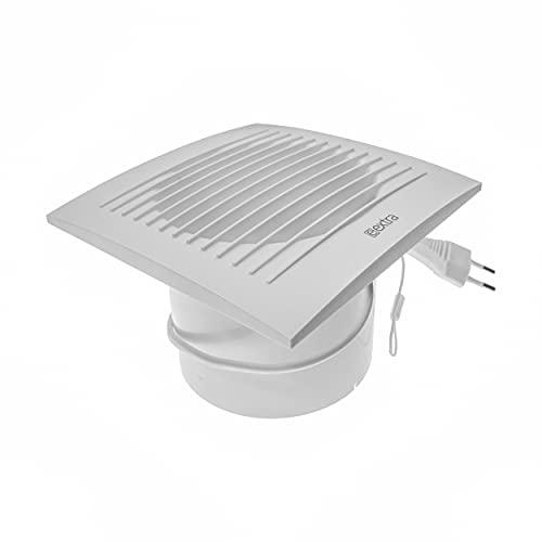 Ventilador eléctrico – Ø 150 mm / 6 pulgadas con cable e interruptor de alimentación – Para interiores – Baño silencioso cocina ventilador – Soporte de pared y techo