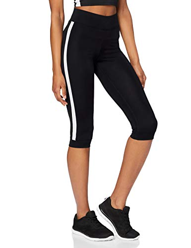 Marca Amazon - AURIQUE Leggings de Deporte con Banda Lateral Estilo Capri Mujer, Negro (Black), 36, Label:XS