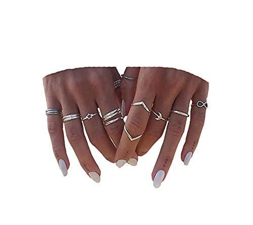 BERYUAN Women 12pcs Rings Silver Rings for Teen Girls Women Ring Set Rings Size 5 6 7 8