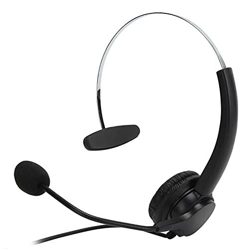Goshyda Auriculares USB con micrófono con cancelación de Ruido, Auriculares con Control de Audio Ajustable con Brazo de Acero Inoxidable Flexible, para oficinas de centros de Llamadas comerciales