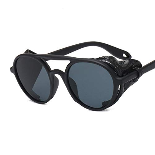 NJJX Gafas De Sol Vintage Para Hombre Y Mujer, Gafas De Sol Steampunk Redondas, Gafas De Cuero De Moda Para Hombre Y Mujer, Negro