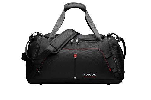 Swiss Ruigor Sport-Gym-Duffel-Tasche mit Schwitz-kontrolliertem Schuhfach, wasserabweisend, große Sporttasche Motion 07, schwarz, 32 l Volumen, 51,6 x 23,9 x 25,9 cm