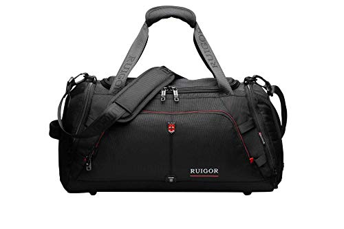 Ruigor Swiss Sport Gym Duffel Bag with Sweat Control Shoe Compartment, Water Resistant, Large Sports Duffle Motion 07