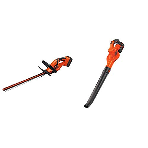 BLACK+DECKER 40V MAX Cordless Hedge Trimmer, 24-Inch (LHT2436) & (LSW40C) 40V Max Cordless Sweeper