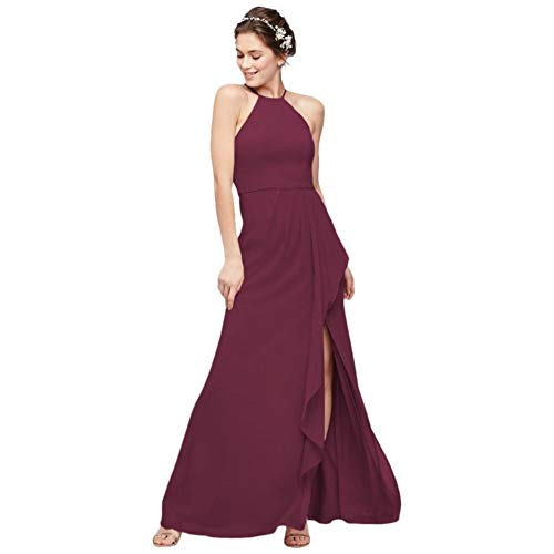 High-Neck Chiffon Bridesmaid Dress with Cascade Style F20014, Wine, 24