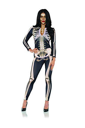 UNDERWRAPS Women's Skeleton Jumpsuit Costume, Black and Sepia, Large