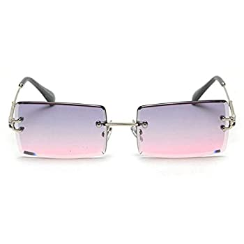 mincl/Fashion Small Rectangle Sunglasses Women Ultralight Candy Color Rimless Ocean Sun Glasses  gray&pink