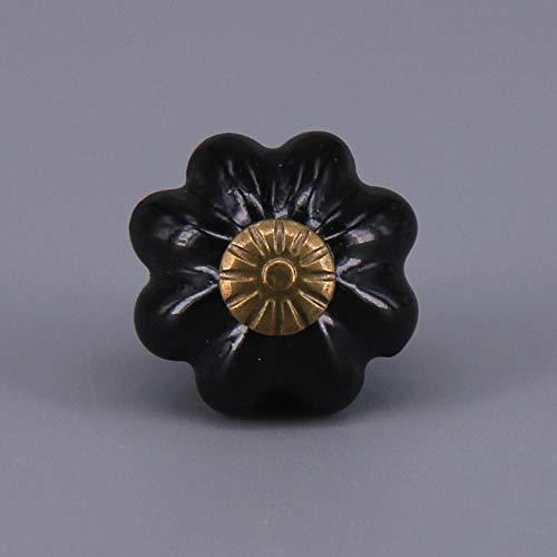 WANDOM een stuk landelijke stijl kleine pompoen vorm keramische deurknop kast lade kast Pull handvat porselein dressoir knoppen Zwart