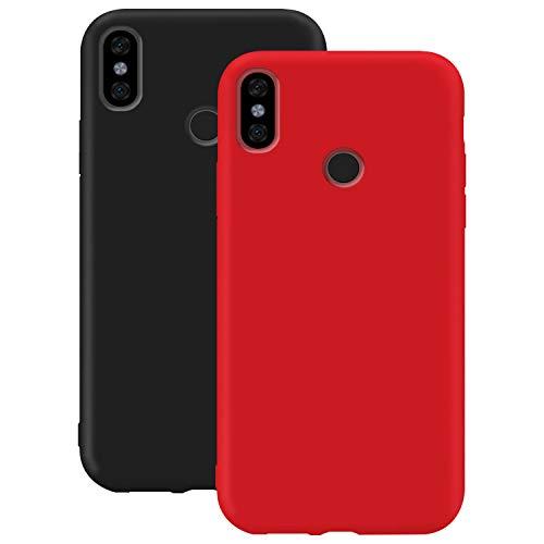 Coque en Silicone pour Xiaomi Redmi S2, Misstars Ultra Mince Souple TPU Gel Mat Bumper Doux Léger Anti Rayure Antichoc Housse Étui de Protection pour Xiaomi Redmi S2, Noir + Rouge