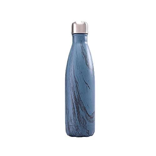 SDGSDG Botella de agua aislada de acero inoxidableStainless steel cola bottling cup double-layer sports kettle-Wood grain - blue_500mlpara fitness, gimnasio, senderismo, bicicleta, yoga,