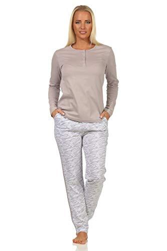 Pigiama da donna, a maniche lunghe, con strisce laterali sulla gamba + motivo animale, colore: grigio, taglia: 40-42