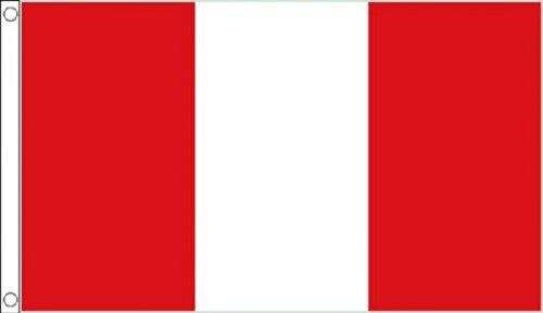 5ft X 3ft (150x 90cm) Péruviens Pérou sans Blason Matière 100% polyester drapeau bannière Idéal pour Pub Club école Festival Business Party Décoration