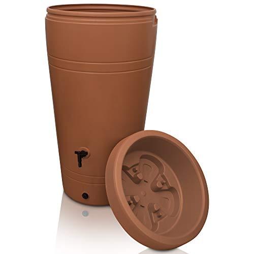 YourCasa Regentonne 230 Liter [Decore Design] Regenfass Frostsicher aus Kunststoff - Regenwassertonne mit Wasserhahn - Regenwassertank Garten (Terracotta)