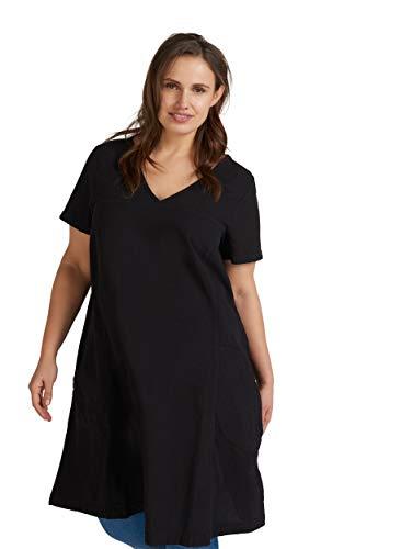 Zizzi Damen Große Größen Kurzarm Kleid mit V Ausschnitt Gr 42-56