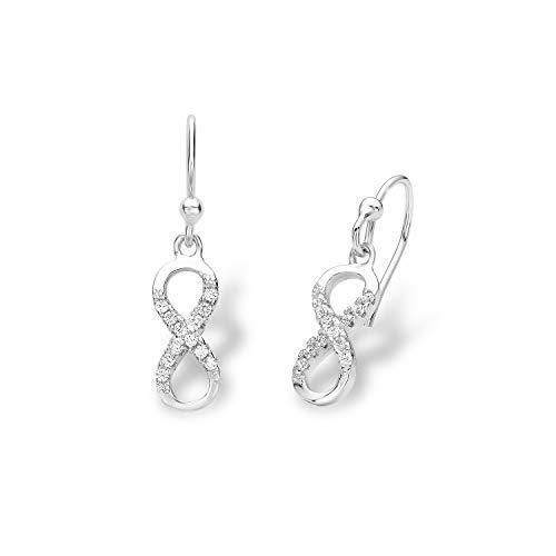 amor Ohrring für Damen Infinity Unendlichkeitszeichen 925 Sterling Silber rhodiniert Zirkonia weiß