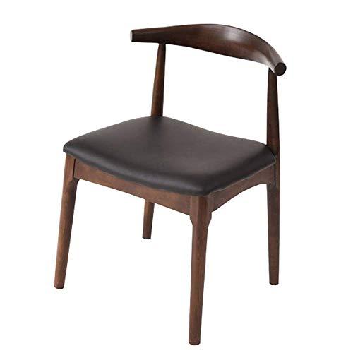 WSDSX Stuhl Retro Side Dining Office Lounge Stuhl Schreibtischstuhl Kunstleder Horn Stuhl Für Office Lounge Sessel Massive Buche Beine Lagergewicht 200kg (Farbe: Schwarz)