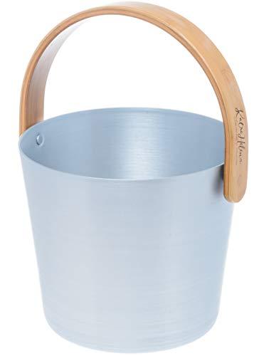 Weigand Saunakübel Aluminium hellblau mit Bambushenkel I Saunazubehör I Kübel I Eimer I Sauna I Alu hellblau Henkel