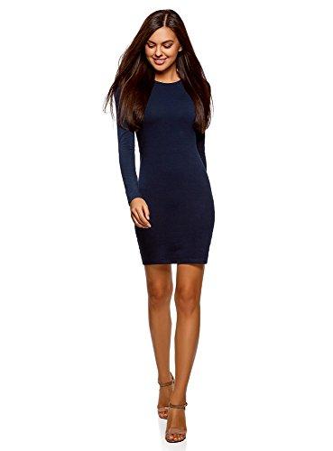 oodji Ultra Damen Enges Baumwoll-Kleid, Blau, DE 34 / EU 36 / XS