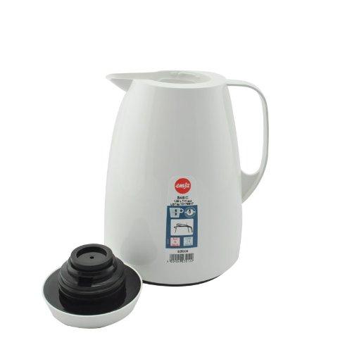 Emsa 505009 Isolierkanne, Thermoskanne, 1l Füllvolumen, Kaffeekanne, Quick Tip Verschluss, Basic in weiß