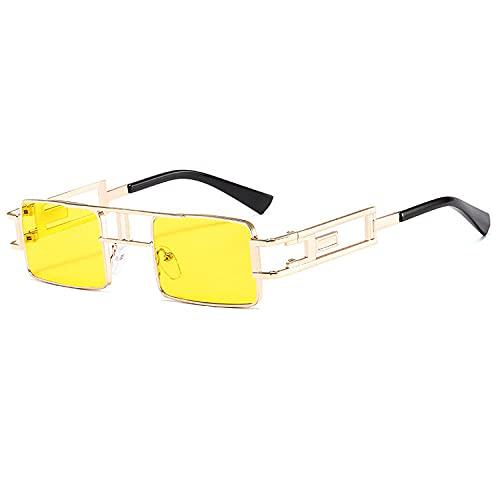 Gosunfly Gafas de sol de metal Steampunk gafas de sol de caja europeas y americanas femeninas-Golden_yellow