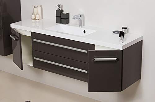 Quentis Badmöbel Genua, Breite 140 cm, Waschbecken und Unterschrank, anthrazit glänzend, 2 Türen, 2 Schubladen, Softeinzug, Waschbeckenunterschrank montiert