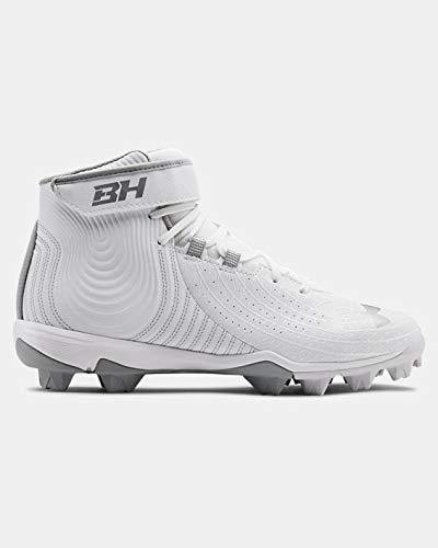 Under Armour Men's UA Harper 4 Mid RM Baseball Cleats 14 White