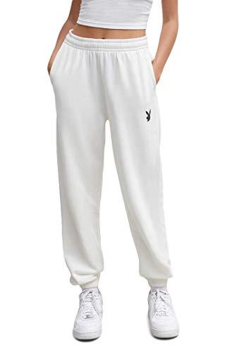 PacSun Playboy Women's Classic Boyfriend Sweatpants - Ivory Size XS
