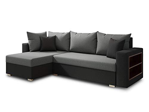 Ecksofa Lord mit praktischen Regal - Sofa mit Bettkasten und Schlaffunktion, Schlafsofa, Polsterecke, Couch L-Form, Couchgarnitur, Sofagarnitur (Schwarz + Grau (Alova 04 + 10), Ecksofa Links)