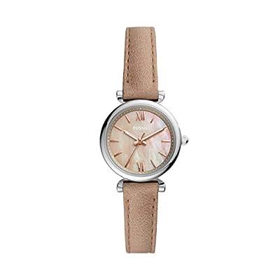 Fossil Women's Carlie Mini Quartz Leather Three-Hand Watch, Color: Silver/Tan (Model: ES4530)