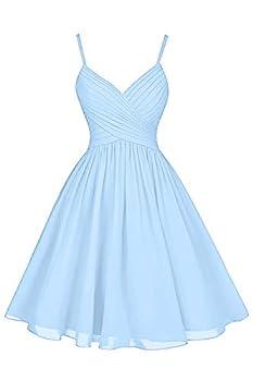 Beachy Wedding Bridesmaid Dresses Short Knee Length Spaghetti Strap A-Line V-Neck Chiffon Formal Formal Dress Light Sky Blue