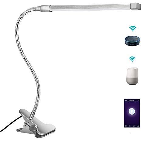 Smart Schreibtischlampe Alexa Nachttischlampe|3 Lichtmodus |10 Dimmbar|Flexibler Schwanenhals|Wifi-Fernbedienung APP-Steuerung|Klammer Leselicht|Kompatibel mit Echo Alexa und Google Assistant (Silber)