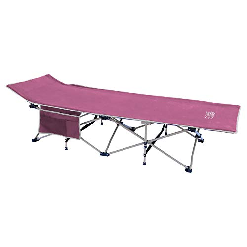 OSAGE RIVER Folding Camping Cot with Pocket and Carry Bag, Portable Lightweight Bed for Adults or Kids, Pink